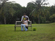 Couple in the park. Asian couple in the park Stock Image