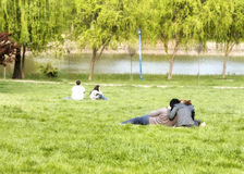 Couple in the park. Two couples in the park - one couple is having issues Stock Photography