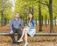 Couple in a Park in Autumn Royalty Free Stock Image