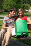 Couple on park bench Royalty Free Stock Photo