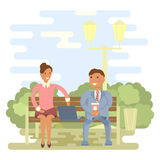 Couple on a park bench. Couple outdoors in summer on a park bench. Cartoon character of men and women, people talking and chatting, office people in flat design stock illustration