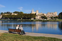 Couple on Park Bench stock images