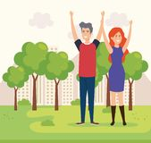 Couple in the park characters. Vector illustration design royalty free illustration