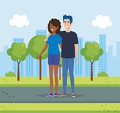 Couple in the park characters. Vector illustration design vector illustration