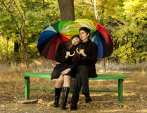 Couple in the park in fall Royalty Free Stock Image