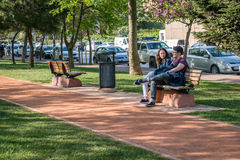 Couple in the park in Istanbul, Turkey Royalty Free Stock Image