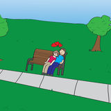 Couple in park. A loving couple resting on a bench in a park Stock Images