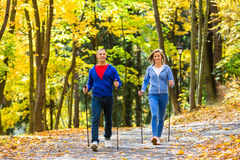 Couple in the park nordic walking Stock Photography