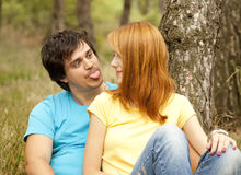 Couple at the park in summer day Stock Photo