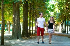 Couple in park on a summer or early fall day Stock Photos