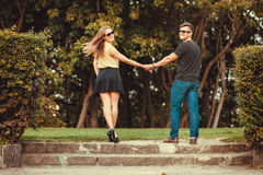Couple in park taking walk. Stock Image