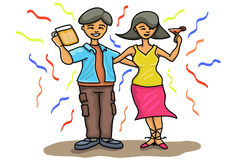 Couple in party. Illustration of a man and woman in a party Royalty Free Stock Photography