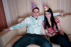 Couple In Party Hats Stock Photography