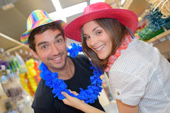 Couple in party store Royalty Free Stock Photos