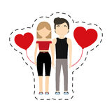 Couple passion lifestyle red hearts balloon. Illustration eps 10 Stock Photography