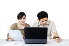 Couple paying bill online 2 Stock Photos