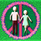 Couple in Peace. Generic figures Man and Woman in a Peace sign Stock Photo
