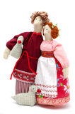 Couple of peasants in traditional dress Royalty Free Stock Photo