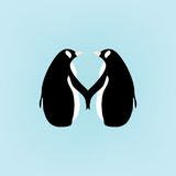 Couple penguins holding hands; cute cartoon illustration on blue background Stock Image