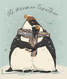 Couple of penguins in love. Couple of penguins with warm scarf in love vector illustration