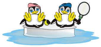 Couple of penguins play to tennis on the ice in ocean. Penguin girl in pink cap hold a ball of tennis and sitting next to the penguin boy with racket of tennis vector illustration