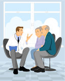 Couple  pensioner in clinic. Vector illustration of a couple  pensioner in clinic Stock Photos