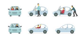 Couple of people in the car. Set of situations. A man pushes car. Vector flat illustration Royalty Free Stock Photos