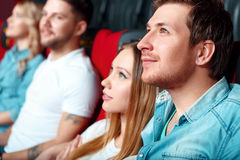 Couple of people in cinema Royalty Free Stock Photography