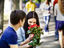 Couple of people on date outdoor. Royalty Free Stock Image