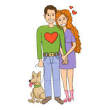 A couple of people in love with a cute dog. A man and a woman love each other. Stock Image