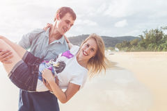 Couple people or tourist from europe with happy and relax time o. N the tropical beach at Karon, Phuket province southern of Thailand stock photo
