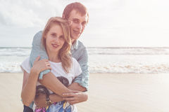 Couple people or tourist from europe with happy and relax time o Royalty Free Stock Image