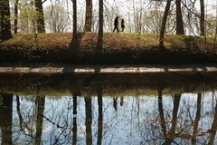 A couple of people walking along the river Bank in the forest nature. A couple of people walking along the river Bank in the forest nature as background royalty free stock photos
