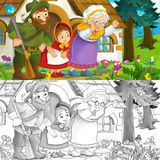 Couple of people are watching how bad wolf is running away - with coloring page Royalty Free Stock Images