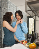 Couple with peperoni Stock Photos