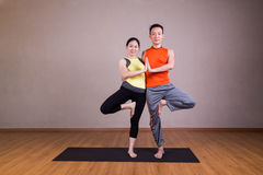 Couple perform Double Tree yoga partner pose Royalty Free Stock Images