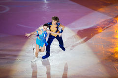 Couple perform at Young sportives display Royalty Free Stock Photo