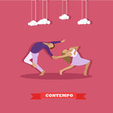Couple performing contemporary dance. Girl and guy dancing concept vector illustration in flat style design Stock Image