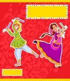 Couple performing Dandiya Royalty Free Stock Photos