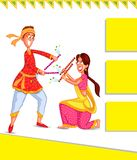 Couple performing Dandiya Stock Photo