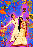 Couple performing Dhunuchi dance of Bengal for Durga Puja in Indian art style Stock Photo