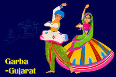 Couple performing Garba folk dance of Gujarat, India Stock Images