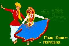 Couple performing Phag folk dance of Haryana, India stock illustration
