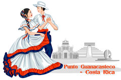 Couple performing Punto Guanacasteco of Costa Rica Stock Photography