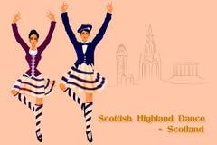 Couple performing Scottish Highland dance of Scotland Royalty Free Stock Image