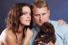 Couple and pet Royalty Free Stock Photography