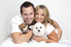 Couple with pet dogs Stock Photo