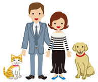 Couple and Pets - Dog and Cat Royalty Free Stock Photos
