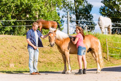 Couple petting horse on stable Stock Photos