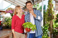 Couple with philodendron in garden center. Happy couple with a philodendron plant in a garden center stock image